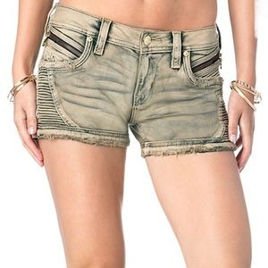 NWT Rock Revival Khaki Beige Moto Shorts